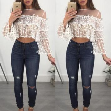 Fashion Women Long Sleeve Crop Top Perspective Shirts Chic See Through Fishnet Mesh Sheer Casual Blouse Hot