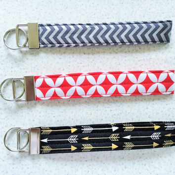 Wristlet Key Chain, Wristlet Key Fob, Shower Favor, Party Favor, Friend Gift, Birthday Gift in Red, Golden Arrow, Chevron