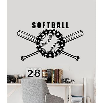 Vinyl Wall Decal Softball Bat Game Sport Logo Stickers (3202ig)