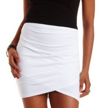 White Ruched Bodycon Mini Skirt by Charlotte Russe