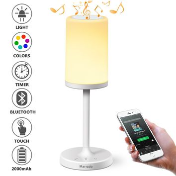 Marrado Bluetooth Speakers + Beside Lamp, Night Light, Smart Touch Control Table Lamp for Bedroom Living Room Reading, Portable Rechargeable LED Desk Lamp, Dimmable Warm White & Color Changing