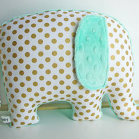 Modern metallic gold nursery decor, Elephant Pillow, metallic gold and seafoam, gold and mint