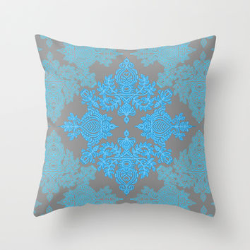 Turquoise Tangle - sky blue, aqua & grey pattern Throw Pillow by micklyn | Society6