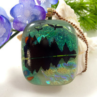 Dichroic Fused Glass Necklace Pendant Mountain Lake Wilderness Scene Statement Jewelry 51