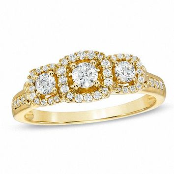 1/2 CT. T.W. Diamond Three Stone Frame Engagement Ring in 14K Gold