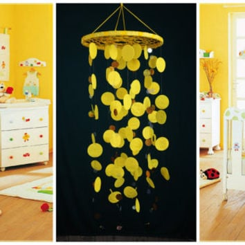 Yellow Baby Mobile handmade exclusive Dreamcatcher bedroom Baby Mobiles bedding DreamCatcher Dreamcatchers Christmas present yellow balance