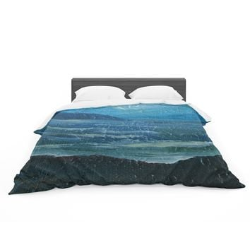 "Cyndi Steen ""Moolight Beach"" Blue White Painting Featherweight Duvet Cover"