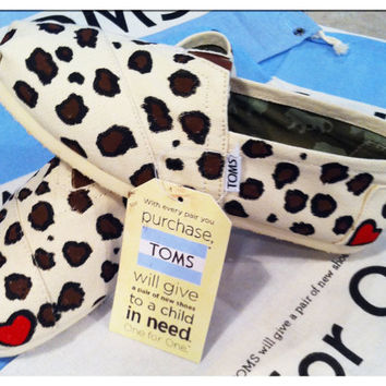 Cheetah Print Customs Toms shoes/ heart optional