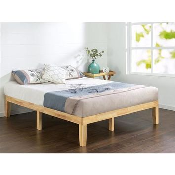 King Size Solid Wood Platform Bed Frame in Natural Finish