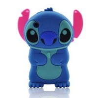 Blue Disney 3d Stitch Movable Ear Flip Soft Case Cover for Iphone 3g/3gs Xmas Gift