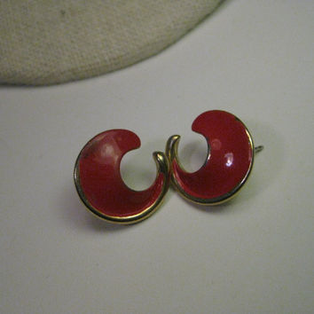Vintage Trifari Red Swish Stud Pierced Earrings, Gold Tone, 1960, 1970