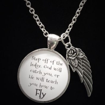 Inspirational God Will Teach You How To Fly Angel Wing Quote Necklace