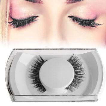 1 Pair 3D Fashion Bushy Cross Natural False Eyelashes Handmade Mink Hair Eye Lashes Extension Makeup Tool Maquiagem Free Ship