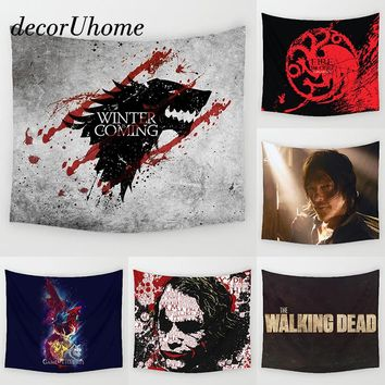 DecorUhome Game of Throne Tapestry Wall Hanging Decor Skull Printed Carpet Home Decor Hanging Living Printing Wall Tapestry