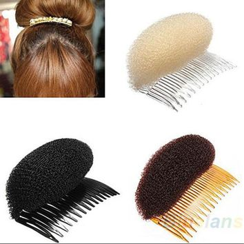 ICIKHY9 New 1pc Hair Styler Volume Bouffant Beehive Shaper Roller Bumpits Bump Foam On Clear Comb Xmas Accessories 1NN7 6OPX