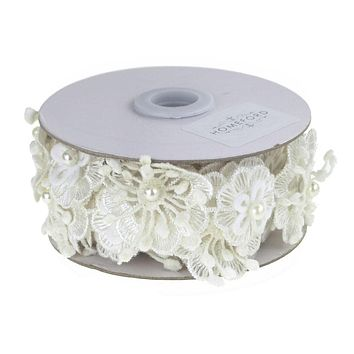 Crocheted Floral Lace Pearls Ribbon, 1-1/2-Inch, 3 Yards, White