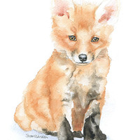 Baby Fox Watercolor Painting Note Cards - Set of 6 - Blank Greeting Cards