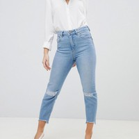 ASOS DESIGN Petite Farleigh High Waist Slim Mom Jeans In Zaliki Light Vintage Wash WITH BUSTED KNEE AND Rip & Repair at asos.com