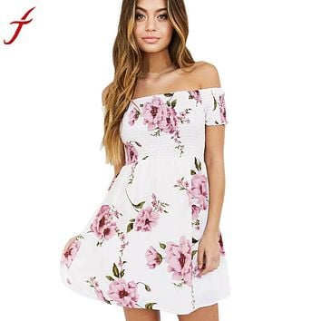 Floral Printing Short Mini Dress