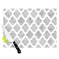 "Amanda Lane ""Gray Moroccan"" Grey White Cutting Board"