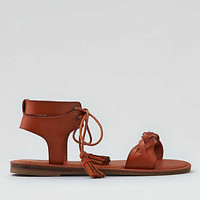AEO Lace-Up Ankle Sandal, Tan