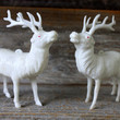 white plastic reindeer // mid century Christmas deer ornaments // kitschy holiday decoration