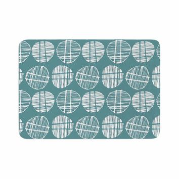 "Gill Eggleston ""Sketched Pods Teal"" Teal White Abstract Modern Vector Digital Memory Foam Bath Mat"