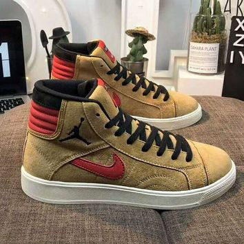 Nike Air Jordan Supreme Fashion Women Men Casual High Tops Running Sport Shoes Sneakers Khaki
