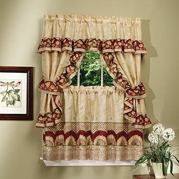Ben&Jonah Collection Sunflower Cottage Window Curtain Set - 57x24 Tier Pair/57x36 Ruffled Topper with attached valance and tiebacks. - Antique
