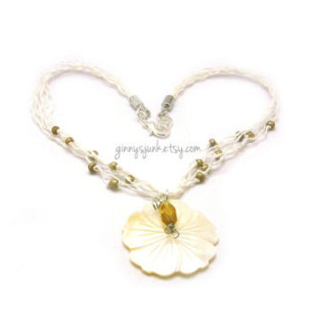 Hemp Necklace with Hibiscus Flower & Gold Dust Seed Beads - 16 inch Necklace - Beach Jewelry