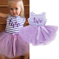Baby Princess Girl Dress 1 2 3 Birthday Party For Toddler Girl Clothing Stripe Tutu Dress Children Casual Dresses Infant Clothes