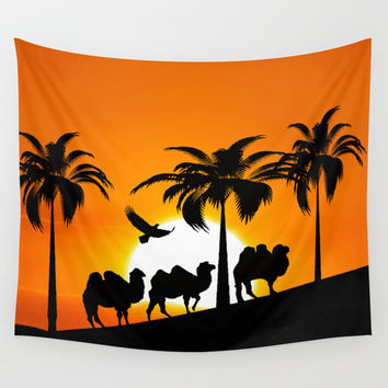 Camel silhouettes at sunset Wall Tapestry by Laureenr