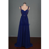 Long royal blue chiffon prom dress with sequins,sexy women dresses for holiday party,cheap evening prom gowns under 150.