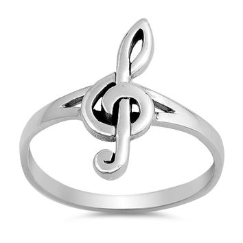 Sterling Silver Women's Ring Music Note 18MM