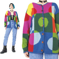 Vintage Rainbow Polka Dot Sweater Cardigan Rainbow Colorful Cardigan Winter Knitted Jumper Slouchy Patchwork 1990s Grunge Sweater (S/M)