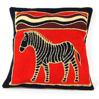 Zebra Batik Throw Pillow Cover - Red