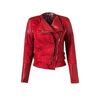 Coat Check Faux Leather Sued Long Sleeve Asymmetric Zip Buckle Outerwear Motorcycle Jacket