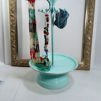 Shabby Chic Jewelry Tree Beach Decor Turquoise Jewelry Holder Stand Jewelry Organizer Necklace Holder Necklace Hanger Jewelry Display