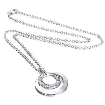 Silver plated necklace Jewelry Handmade Pendant necklaces Hammered Silver two Circle Necklace for women men