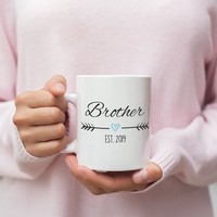 New Brother Mug, New Brother Gift, Brother Est 2019, Pregnancy Reveal, Brother Announcement, Gift for New Brother, Brother To Be Baby Shower