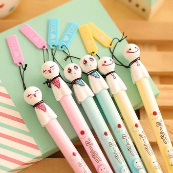 DCCKL72 1 Pics 0.38mm Japanese Sunny Doll Sakura Black Kawaii Chinese Cute Glitter Korean Gel Pen Korea School Supplies Stationery Pens