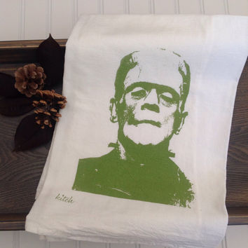 Halloween Tea Towel - Frankenstein Flour Sack Kitchen Dish Cloth Movie Monster Home Decor Horror Rockabilly Retro