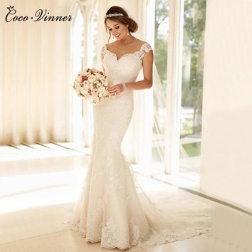 C.V Custom Made Vestido De Noiva Ivory Mermaid Wedding Dress 2017 Sleeveless Fish Tail Mariage Lace Wedding Dresses Bridal gown