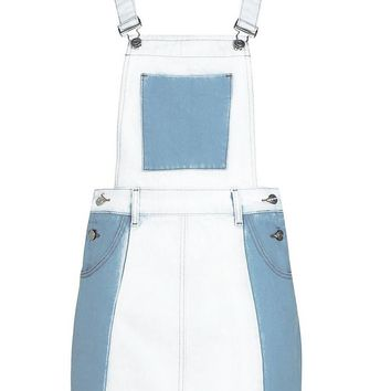 Contrast Denim Patchwork Denim Pinafore | Boohoo