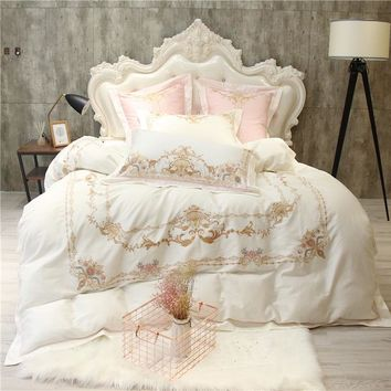 Embroidery Egyptian Cotton White color Luxury Bedding Sets Blue Queen King Size bed set Bedlinen sheets Duvet Cover set Wedding