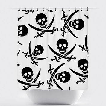 Black/White Pirate Shower Curtain