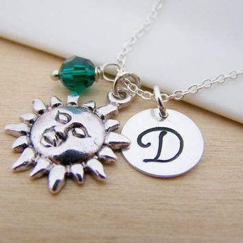Sunshine / Sun Charm Swarovski Birthstone Initial Personalized Sterling Silver Necklace / Gift for Her