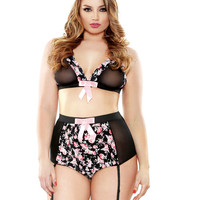 Retro High Floral Bralette & High Waisted Gartered Panty Set Pink 1x-2x