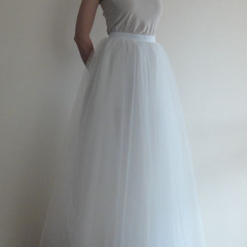 Tulle Maxi skirt,Full Length,Floor length Bride Skirt,Extra Full Ivory Wedding Tulle Skirt,Tutu, Bridesmaid dress,İvory Long Tulle skirt.