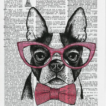 French Bulldog Art Print,Dictionary Art Print,Dictionary Paper,Hipster Art, Bulldog Print, Nerdy Art ,Nerd Art Poster,Wall Decor, Digital